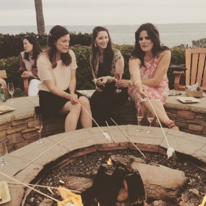 With new friends, s'moresing it up around the fire pit at the VIP reception
