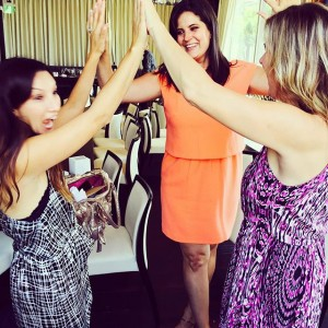 Celebrating a High-Five circle with the best team ever (Good Carma Studio) at The District in LA, after the No Kid Hungry Influencers Brunch I hosted.