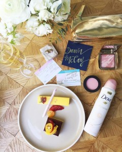 Dessert, Dove Dry Spray Deodorant (in my fave, Beauty Finish),  my picks for beauty and fashion trends and a glass of bubbly, of course...