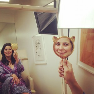 Meow. In the chair with Kristie and the  cutest kitty cat mirror that you ever did see.